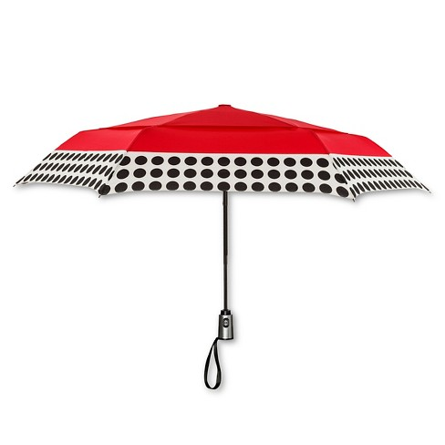 ShedRain Auto Open Close Air Vent Compact Umbrella - Red Polka Dot
