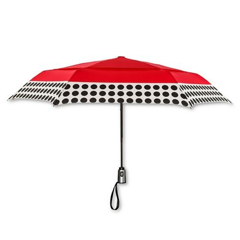 ShedRain Auto Open Close Air Vent Compact Umbrella - Red Polka Dot