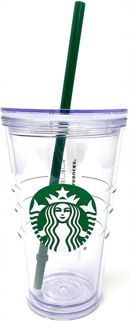 Starbucks Cold Cup Clear Grande Tumbler Traveler With Green Straw Logo - 16oz