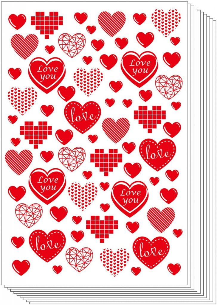 TUPARKA 10 Sheet 600PCS Valentine Heart Stickers Red Hearts PVC Sticker Love Heart Stickers for Valentines Day