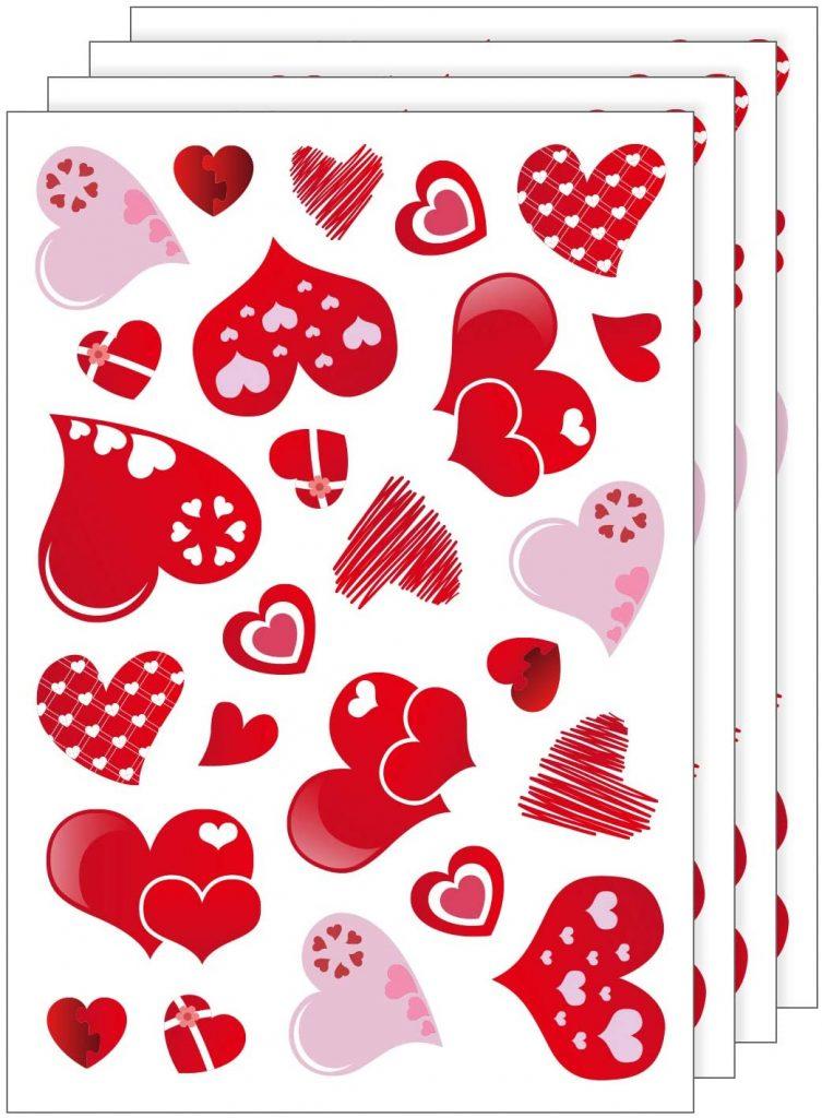 TUPARKA 4 Sheet 100 Stickers Hearts-Shape Valentines Day