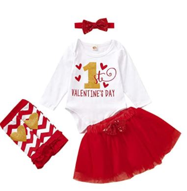Taicanon 1st Valentine Baby Girl Outfit Girls My First Valentine Day Skirt Sets