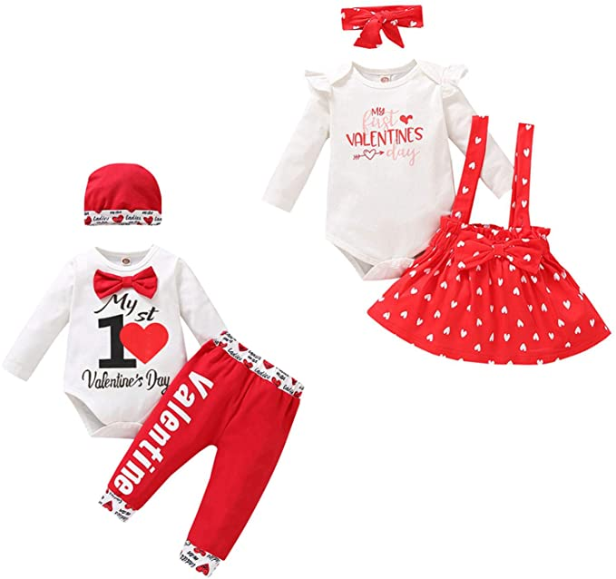 Taicanon Infant Baby Boy Girl Valentine Outfit Heart Print Valentine Clothes Set