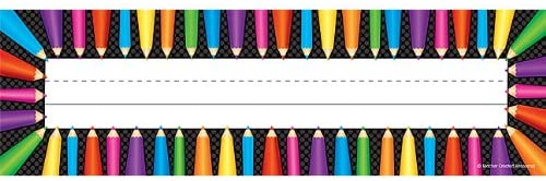 Teacher Created Resources Colored Pencils Flat Name Plates (5512)
