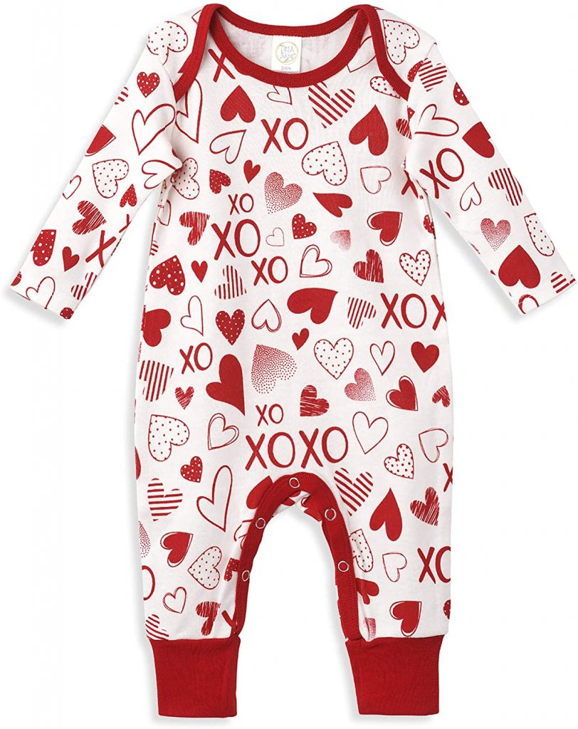 Tesa Babe Baby Girls Boys Clothes Valentines Outfit Girl and Boy with Hearts XO