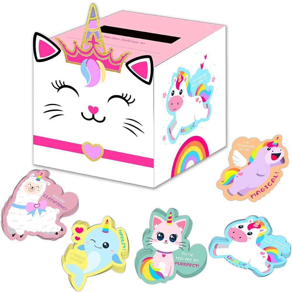 Unicorn Valentines Day Cards and Boxes