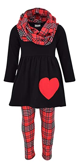 Unique Baby Girls 3 Piece Valentine's Day Plaid Heart Outfit
