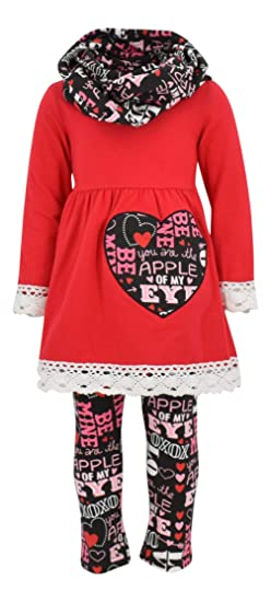 Unique Baby Girls Valentine's Day Outfit Crochet Trim Legging Set