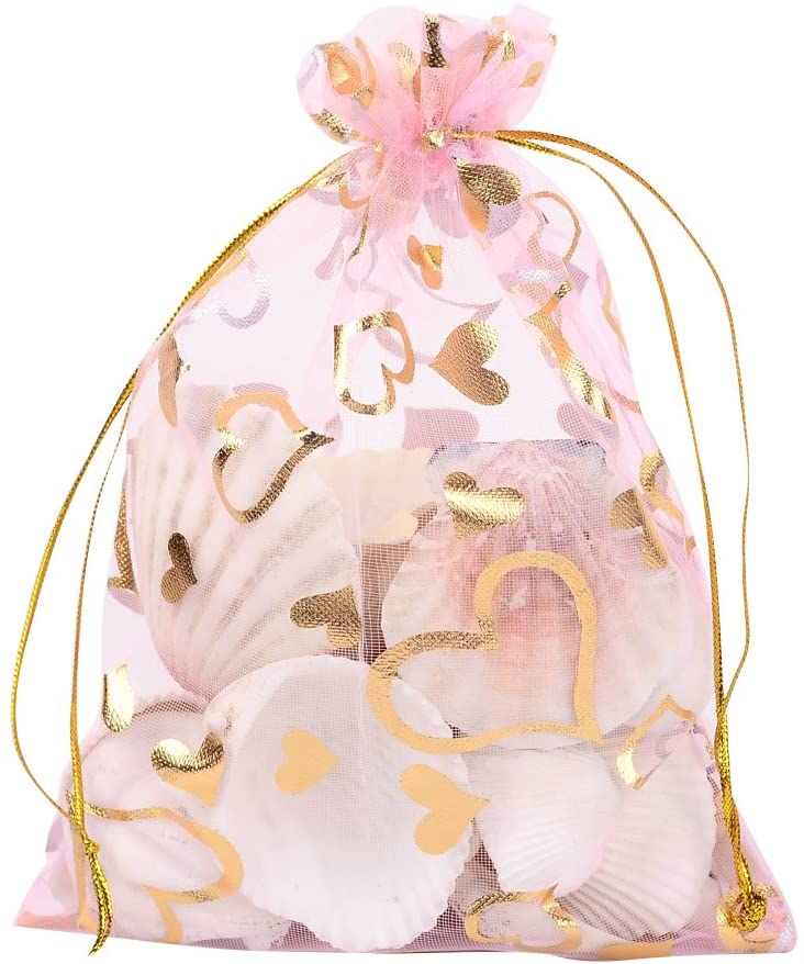 Valentine Day Bag gift Heart Printed PeachPuff Organza Bags Jewelry Pouch Bags