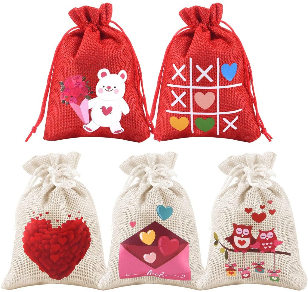Valentine Day Bag gift Kuuqa 25 pcs heart love shaped drawstring gift bag