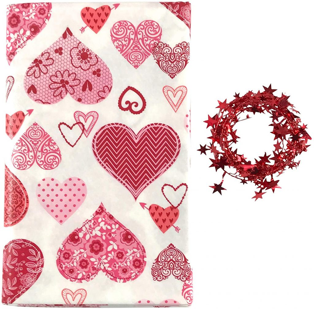 Valentine Hearts Vinyl Tablecloth Flannel Backed, Red, Pink, White (52 x 90 Inch)