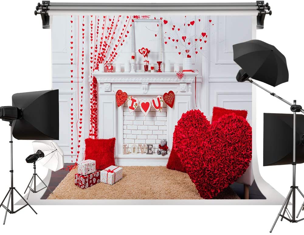 Valentine's Day Backdrop Fireplace Background Wedding Red Love Backdrop Indoor Backgrounds Romance Bride Photo Studio Props