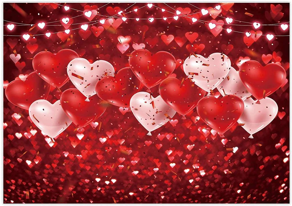 Valentine's Day Backdrop Red Glitter Balloons Love Sweethearts Romantic Lover Photography Background