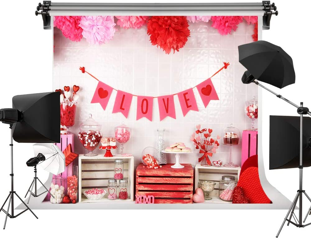 Valentine's Day Backdrop Red Love Background Candies Sweets Backdrop Photo Booth Decorations Photo Studio Newborn Baby Portrait