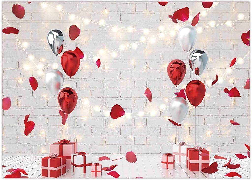 Valentine's Day Backdrop Rose Petal Red Balloon Brick
