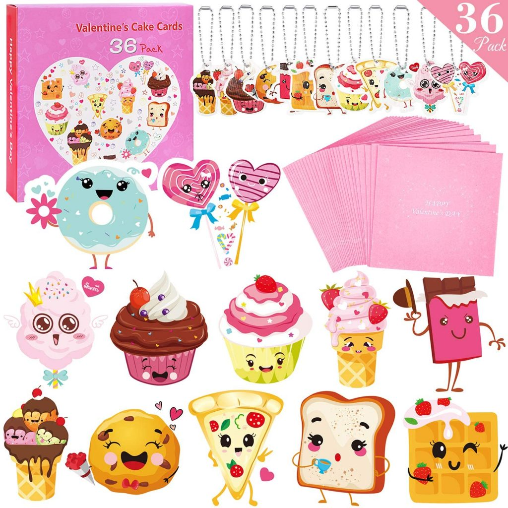 Valentines Day Cards For Kids - 36 Valentine Cards 36 Cute Keychains