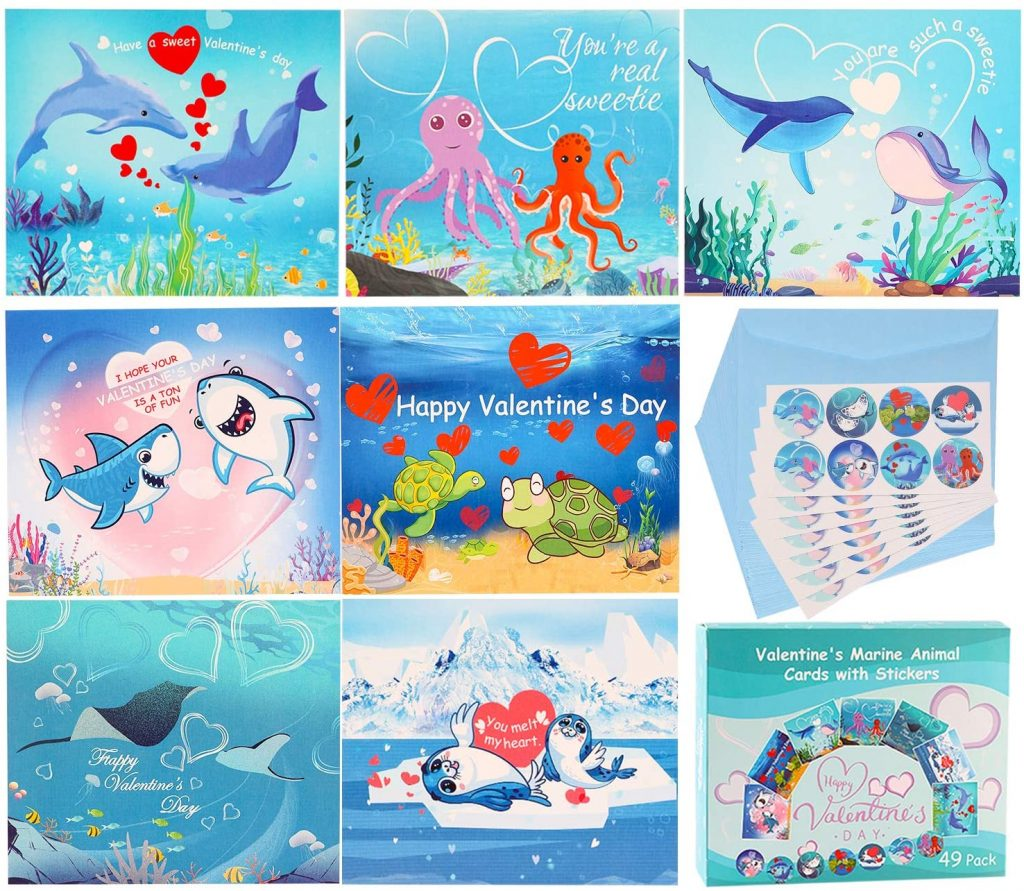 Valentines Day Cards For Kids - 49 pcs Valentines Marine Animal Cards