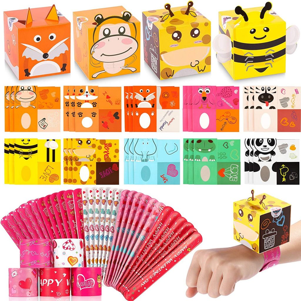 Valentines Day Cards for Kids 30 Pack - 30 DIY 3D Animal Box Cards with Stickers