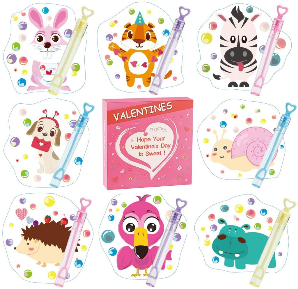 Valentines Day Cards for Kids - 32 Mini Bubble Wands + 32 Valentines Cards for Kids, Cute 8 Animal Designs Valentines Day Gifts Cards