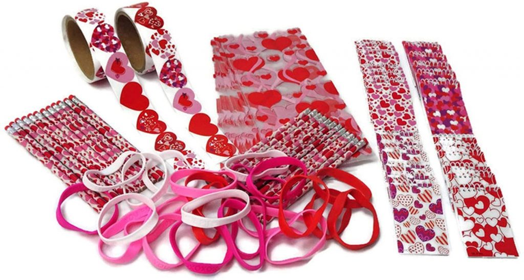 Valentines Day Party Favors- Pencils Notebooks Stickers Bracelets and Treat Bags