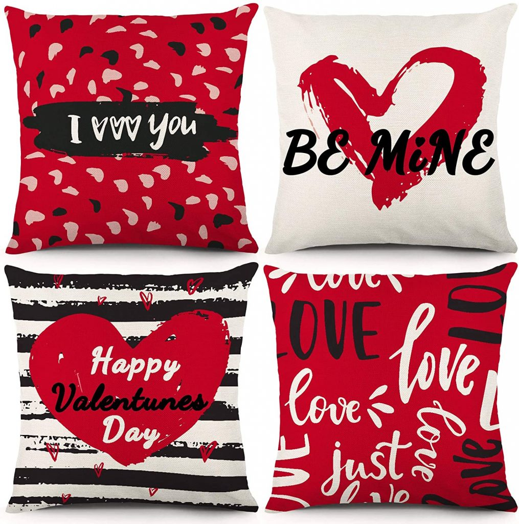 Valentines Day Throw Pillow Case Cushion Cover Love Hearts red and Black Home Decor