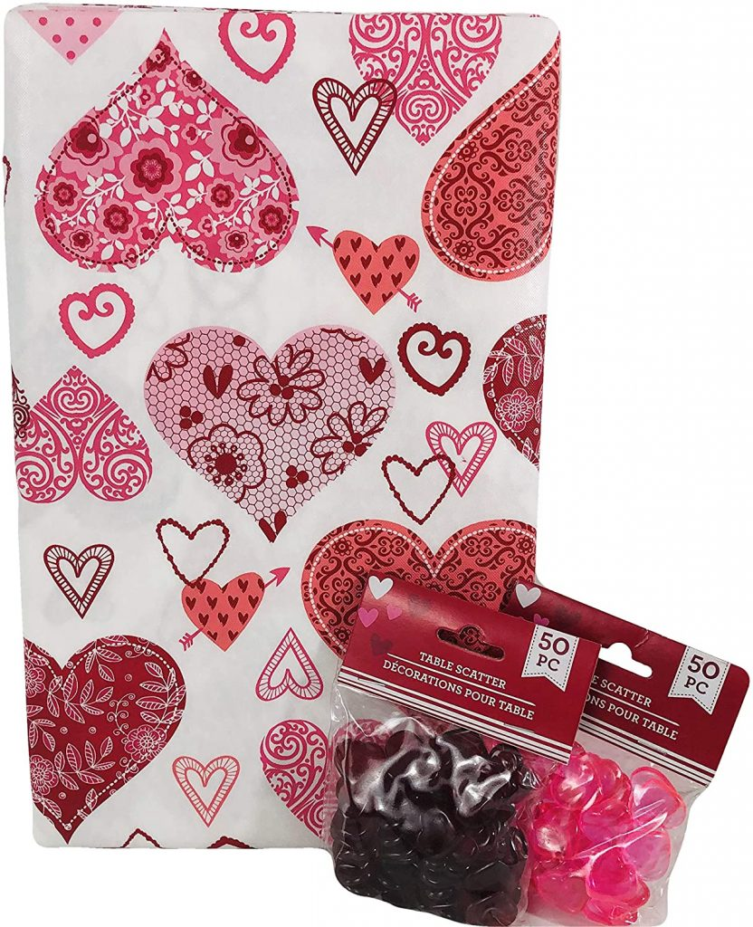 Valentines Day Vinyl Tablecloth Decorated Hearts and Table Scatter Valentines Holiday Decoration (60 in Round)