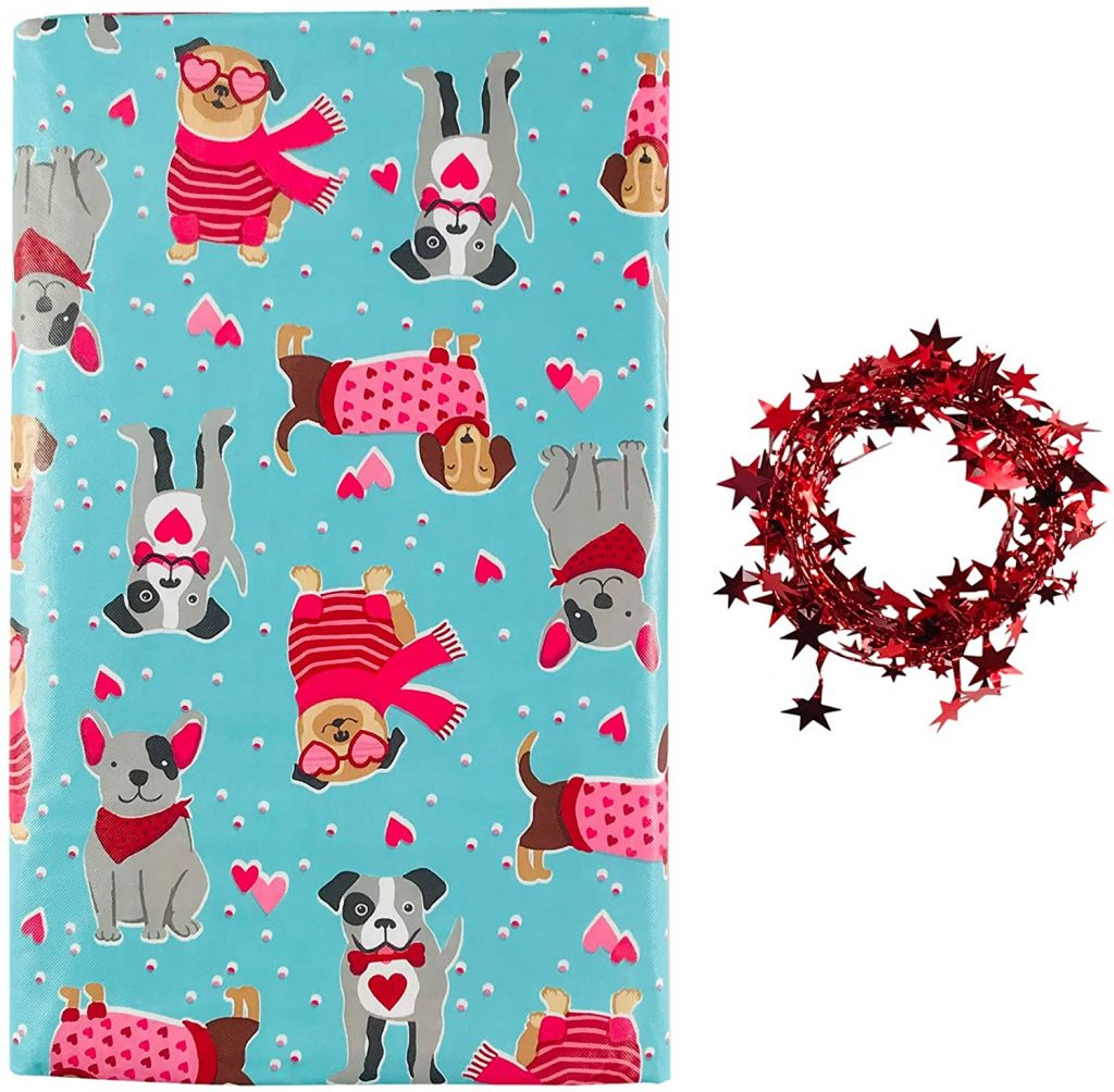 Vinyl Tablecloth Fun Valentine Puppy Love Friendship - Flannel Backed, Red Aqua Tan Grey (52 x 90 Inch)