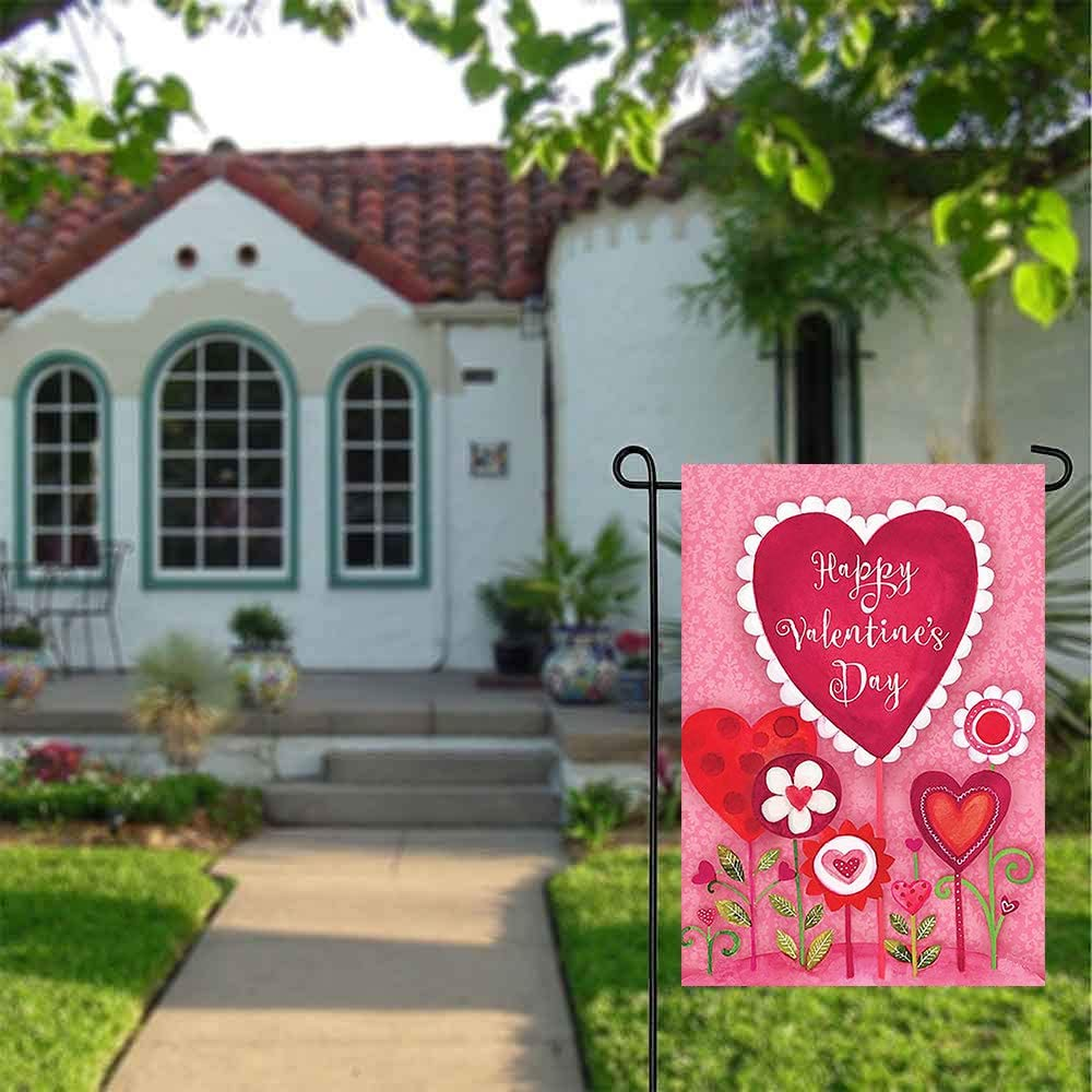 Wamika Happy Valentine's Day Love Heart Flowers Pink Double Sided Garden Yard Flag 12 x 18, Sweet Valentine Day Rose Floral Spring Welcome