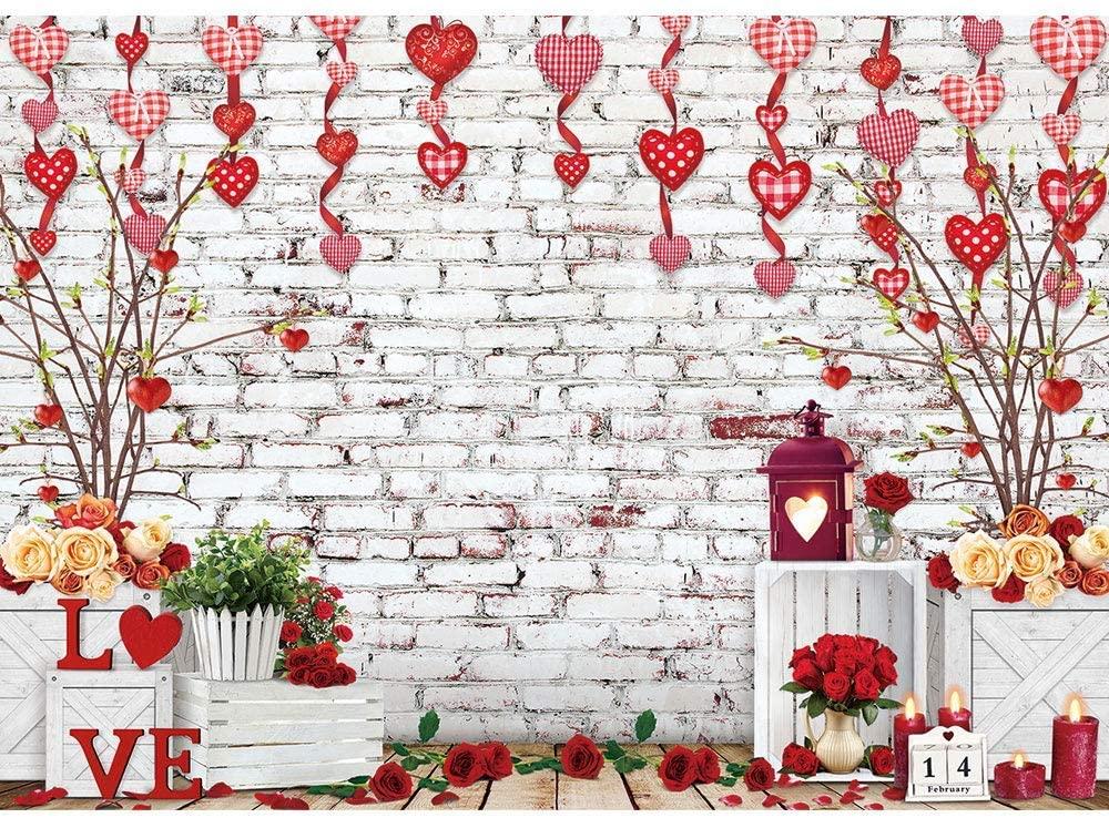 White Brick Wall Valentine's Day Backdrop Love Pendant