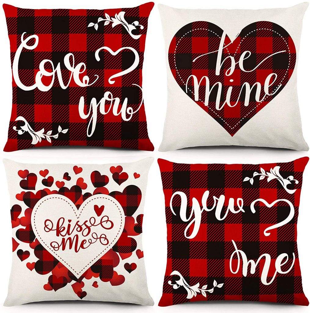 YGEOMER Valentine's Day Pillow Covers Black and Red Buffalo Plaid decoration