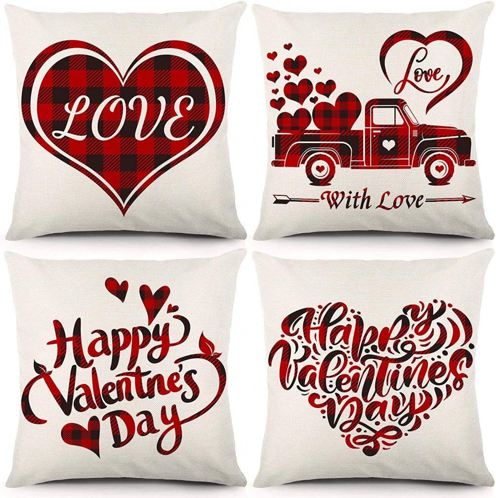 YGEOMER Valentine's Day red Buffalo Plaid Check Heart Love Truck Decor
