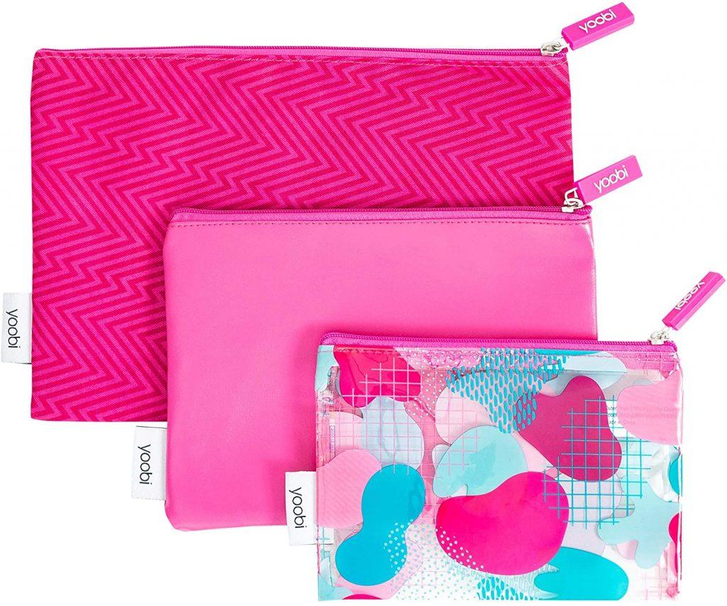 Yoobi Clear Zipper Pouch Set 3 Piece Fun Pink Ziggy Printed PVC for Travel School Office Use Model 15ACFRHNAM
