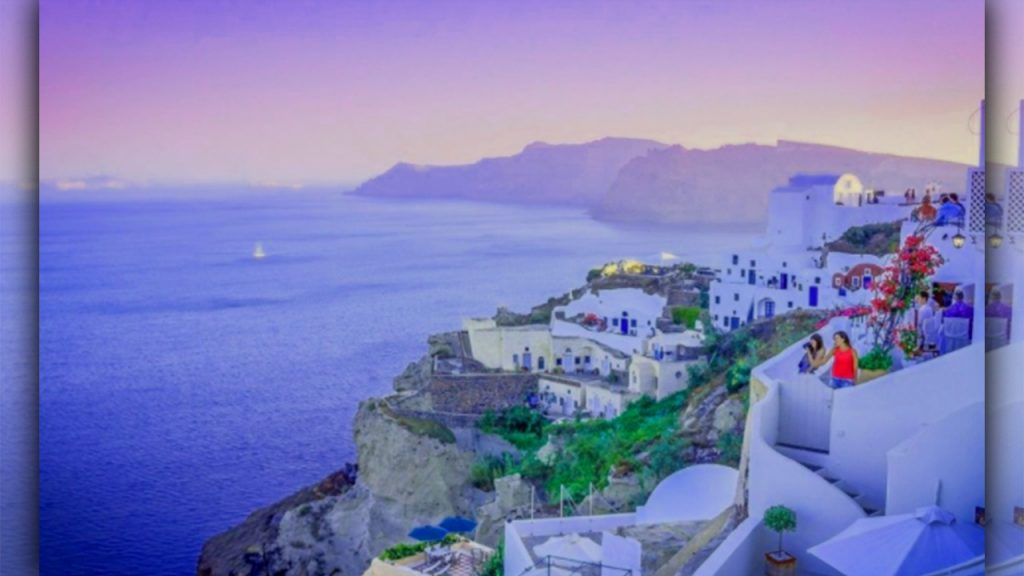 places to go for valentine day Santorini Greece