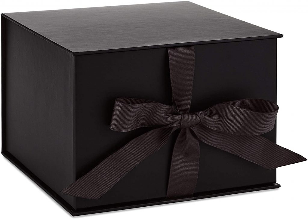 valentine day boxes Large Black Gift Box with Lid and Shredded