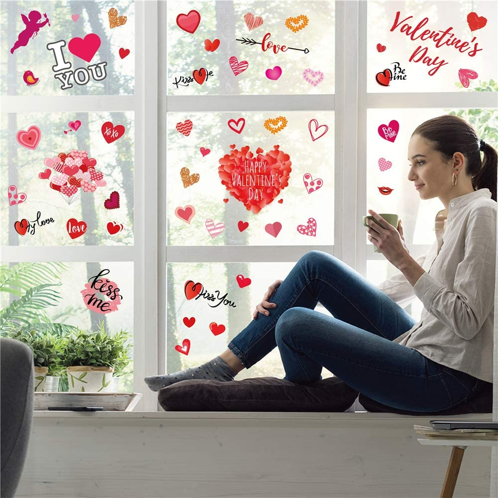 valentine day decorations 311 Pcs Valentines Day Window Clings Decorations - 8 Sheet Heart Party Ornaments Supplies