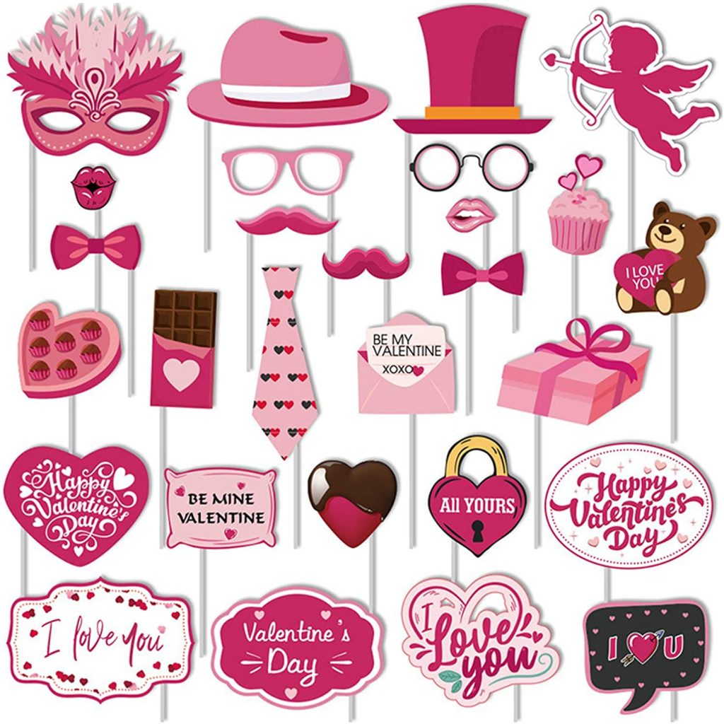 valentine day decorations Valentines Day Photo Booth Props Kit