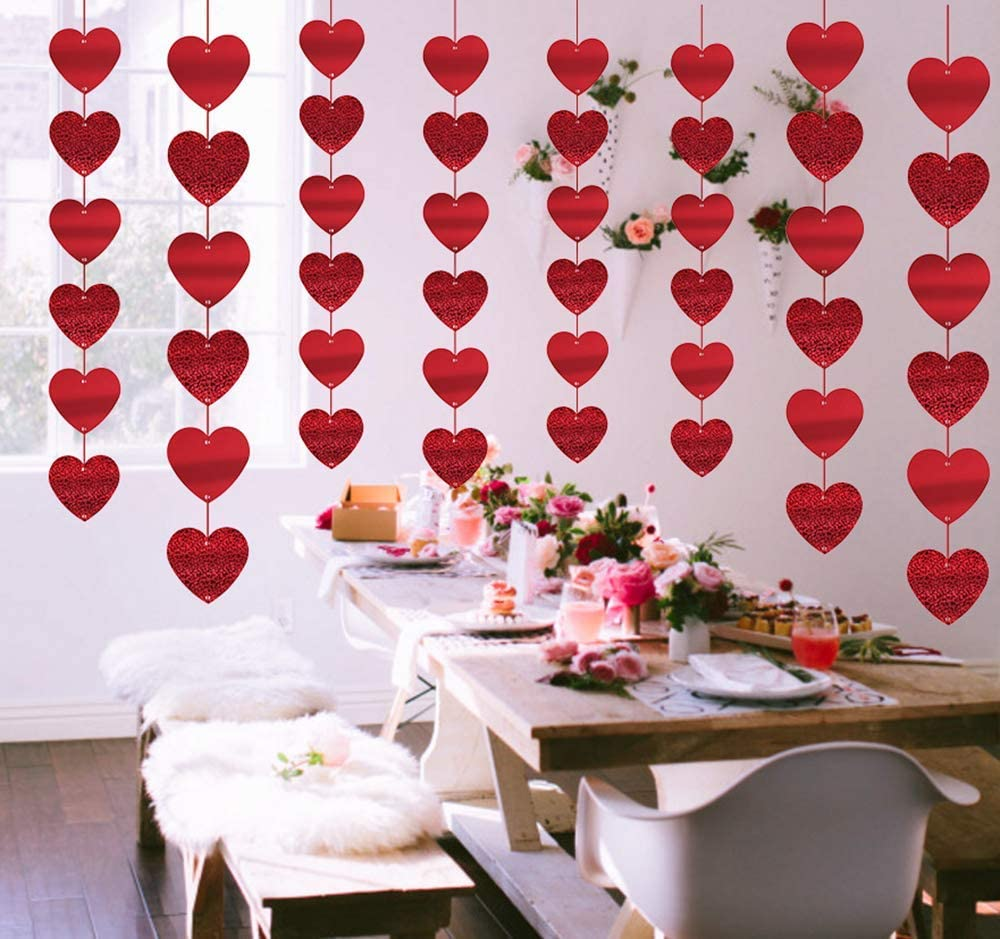 valentine day decorations jollylife 12PCS Valentines Day Decorations Heart Garland - Party Hanging String Decor Supplies Cutouts