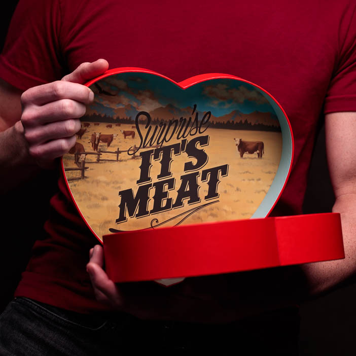 valentine day for guys A beef jerky heart