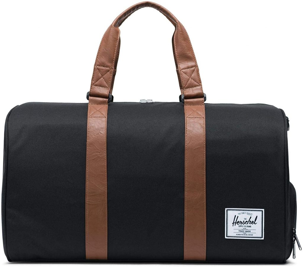 valentine day for guys Herschel Novel Duffel Bag, Black Tan Synthetic Leather, Classic 42.5L