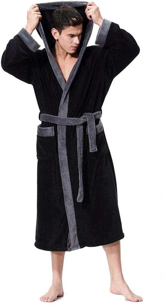 valentine day for guys Men's Hooded Bathrobe in 2 Colored Soft Spa Kimono Shawl Collar Hooded Long Robe Unisex
