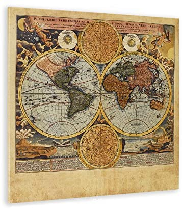 valentine day for guys WallDeco Unique Vintage World Map Wall Art Retro World Map Canvas Map Prints