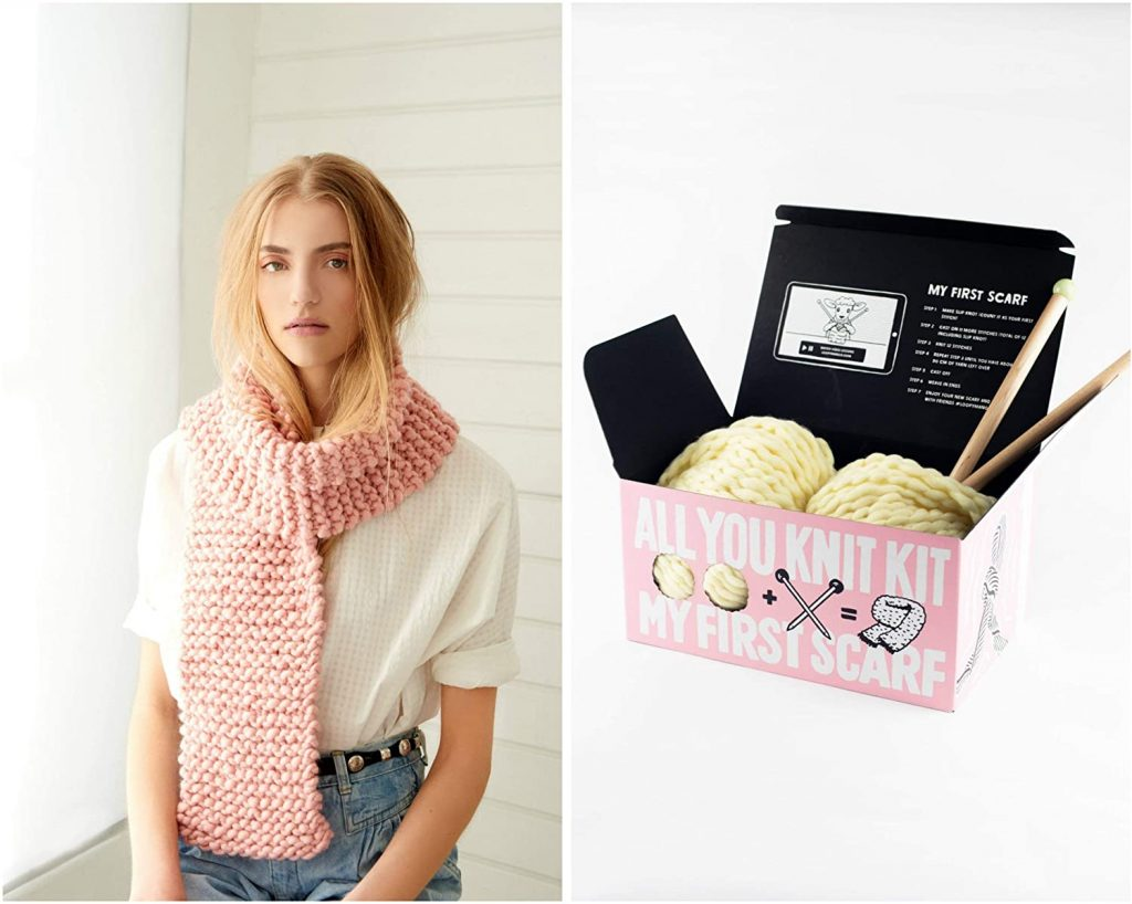 valentine day gifts for girlfriend Loopy Mango DIY All You Knit Kit - My First Scarf