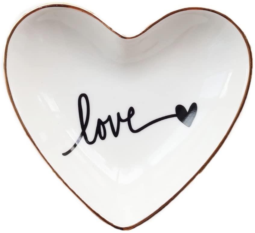 valentine day gifts for girlfriend Original Ceramic Heart Shape Ring Dish Holder Jewelry