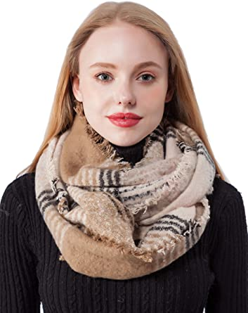 valentine day gifts for girlfriend Seven Flowers Plaid Knitted Infinity Scarves for Women