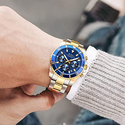 valentine day gifts for him Mens Watches Chronograph Stainless Steel Waterproof