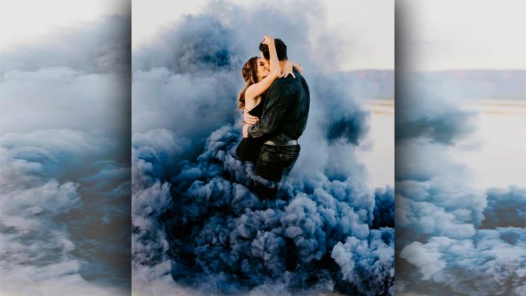 valentine day photoshoot Utilize Colored Smoke