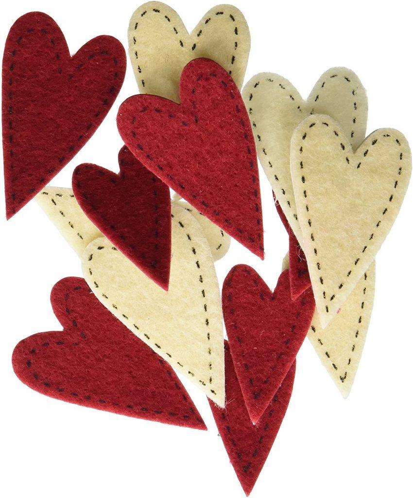 valentine day sticker Darice FLT-1016 Darice 72 Piece Felties Felt Stickers Stitched Hearts