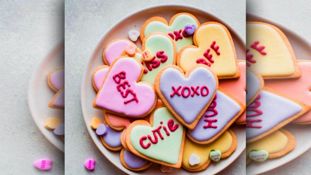 valentine day sugar cookies in plate