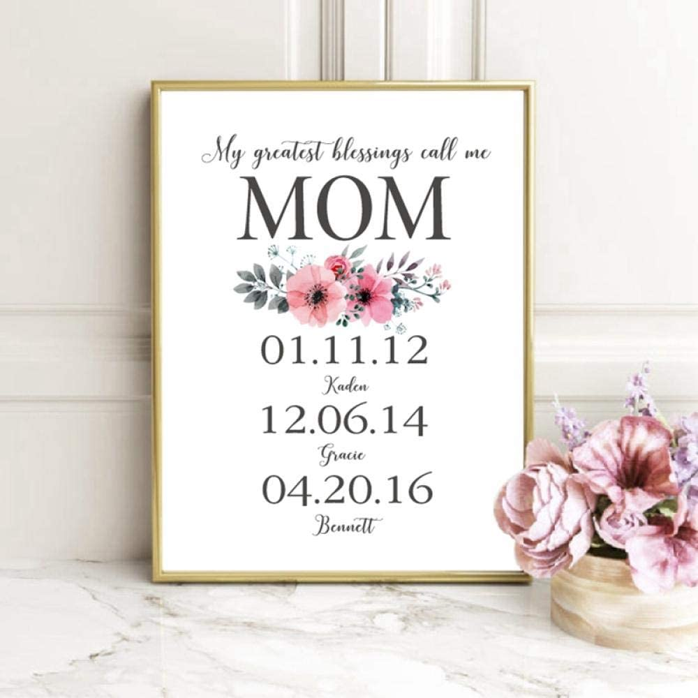 woplmh My Greatest Blessings Call Me Mom Print Wall Art Poster Floral Custom Children's-50x70cmx1 no Frame valentine day for mom