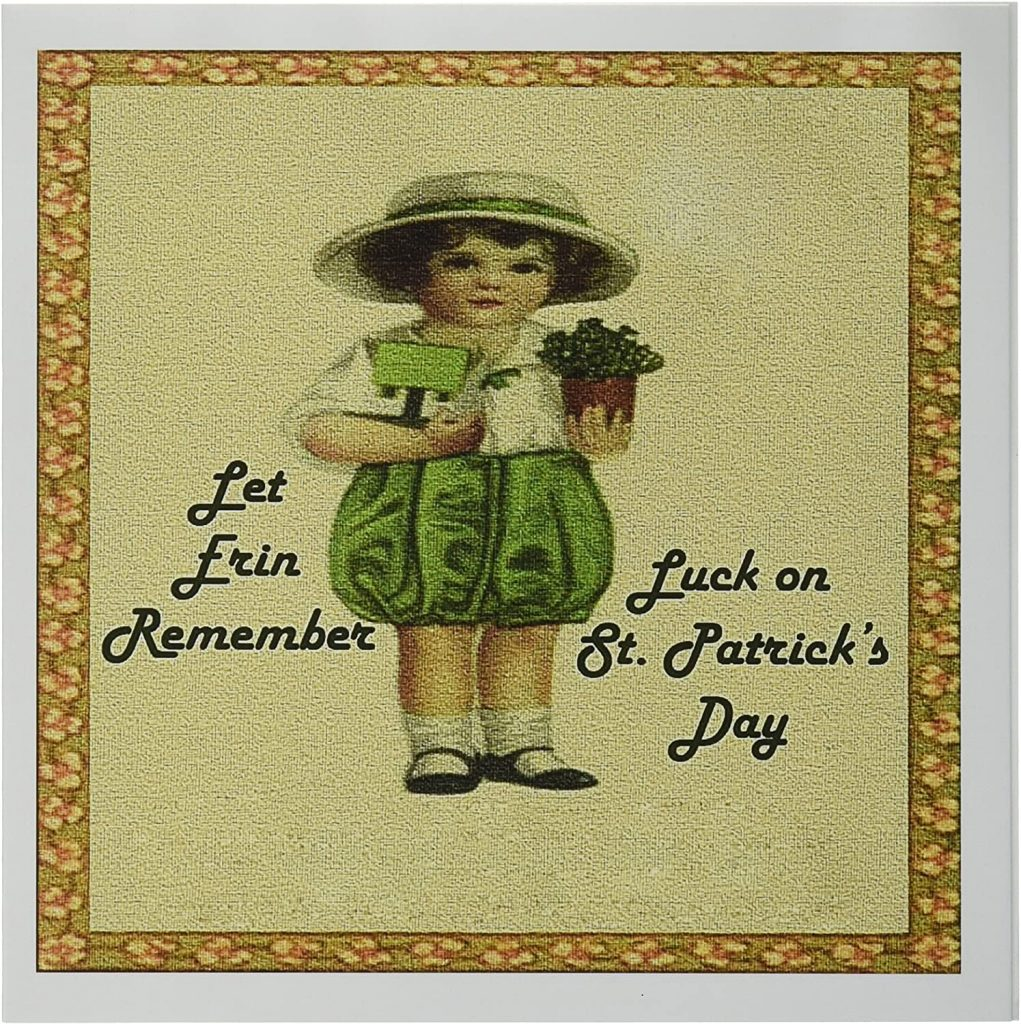 3dRose Shamrocks and Vintage Girl - Greeting Cards st patrick's day cards